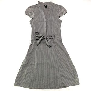 H&M Grey Striped Safari Style Dress Size 2 NWOT